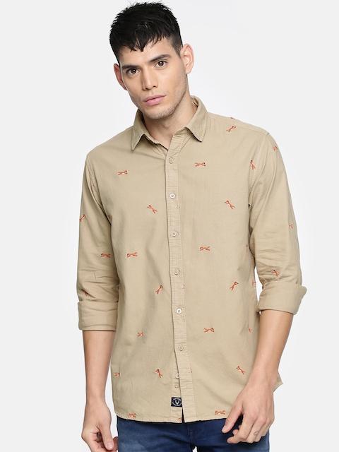 Allen Solly Men Beige Regular Fit Self Design Casual Shirt