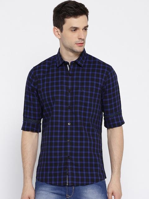 Allen Solly Men Black & Blue Custom Fit Checked Casual Shirt