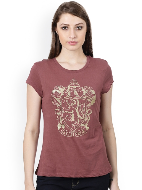 Harry Potter by Free Authority Women Brown Printed Round Neck T-shirt