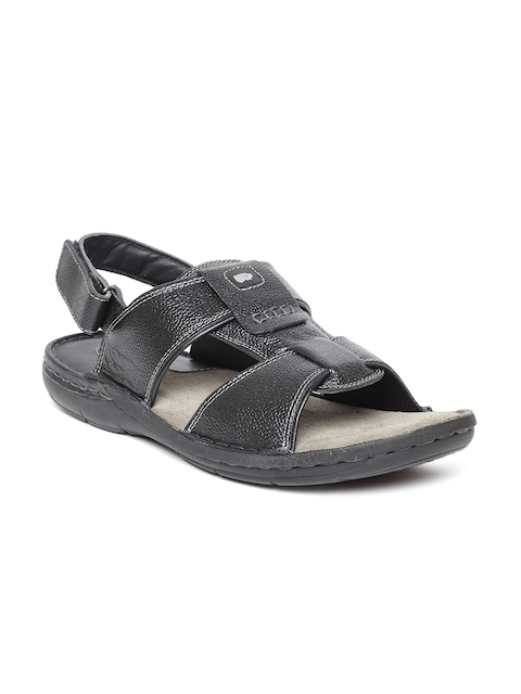 Red Chief Men Black Comfort Leather Sandals