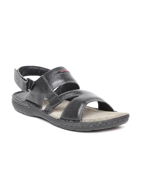 Red Chief Men Black Comfort Leather Sandals