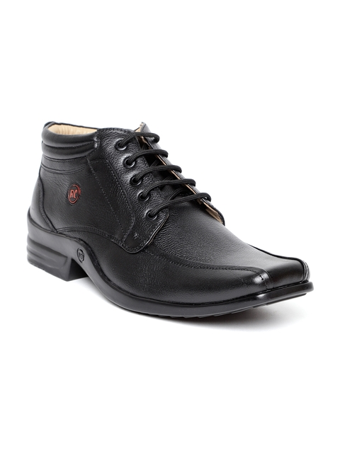 Red Chief Men Black Leather Chukka Boots