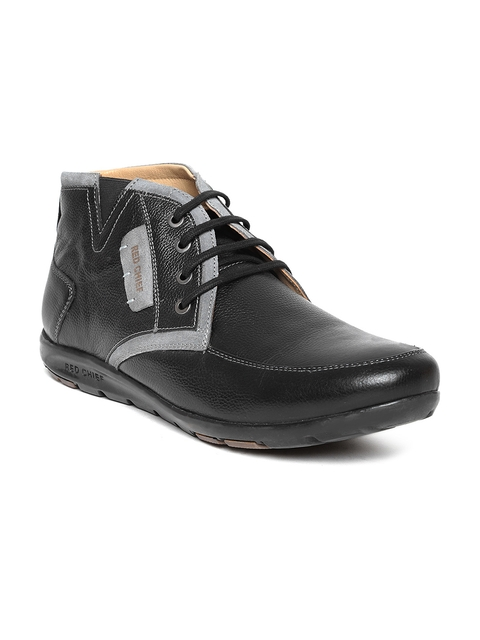 Red Chief Men Black Leather Mid-Top Flat Boots