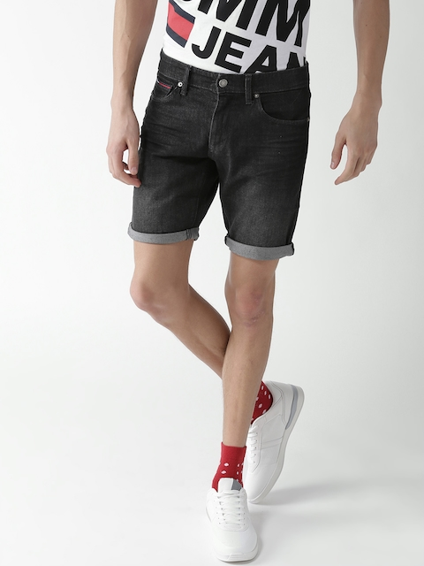 Tommy Hilfiger Men Charcoal Grey Washed Slim Fit Denim Shorts