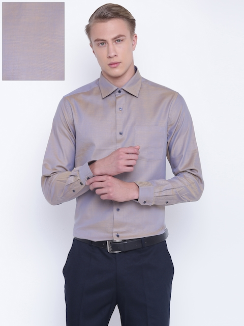 Blackberrys Men Beige & Blue Slim Fit Striped Partywear Shirt