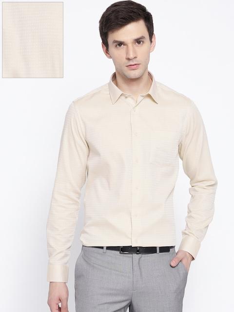 Blackberrys Men Beige Slim Fit Striped Formal Shirt