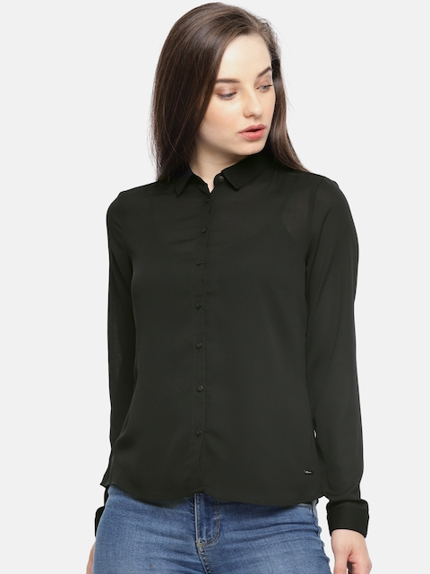 Van Heusen Woman Women Black Regular Fit Solid Sheer Casual Shirt