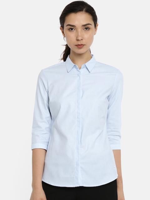 Van Heusen Woman Blue Regular Fit Self Design Formal Shirt