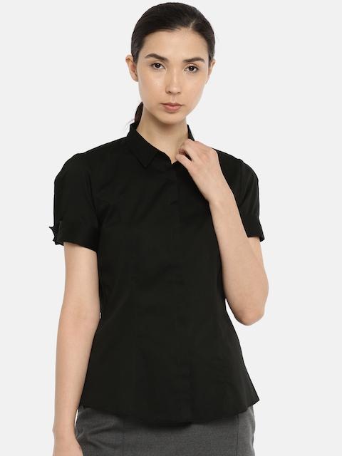Van Heusen Woman Women Black Slim Fit Solid Formal Shirt