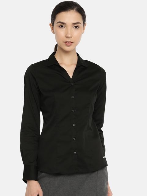 Van Heusen Woman Women Black Regular Fit Solid Formal Shirt