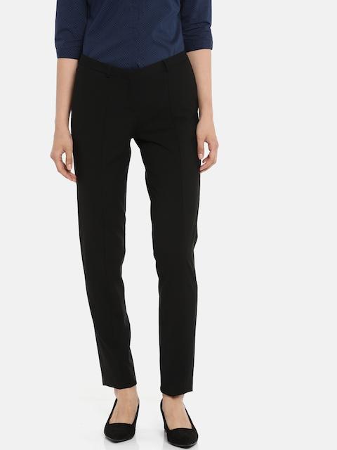 Van Heusen Woman Black Slim Fit Solid Formal Trousers