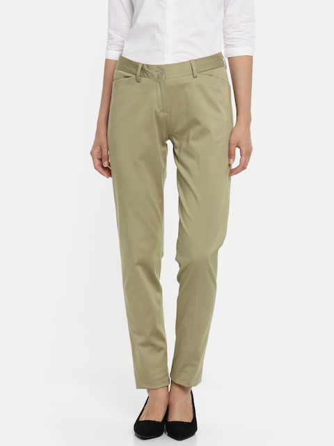 Van Heusen Women Khaki Regular Fit Solid Formal Trousers