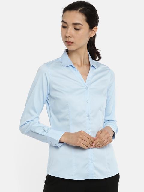 Van Heusen Woman Blue Regular Fit Solid Formal Shirt