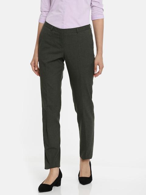 Van Heusen Women Grey Slim Fit Solid Regular Trousers