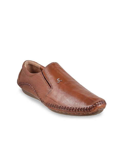 Mochi Men Tan Solid Leather Slip Ons