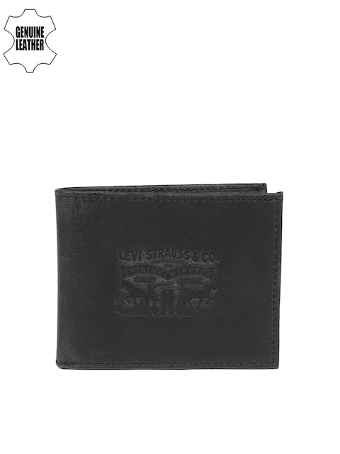 Levis Men Black Solid Two Fold Horse Pull Leather Wallet
