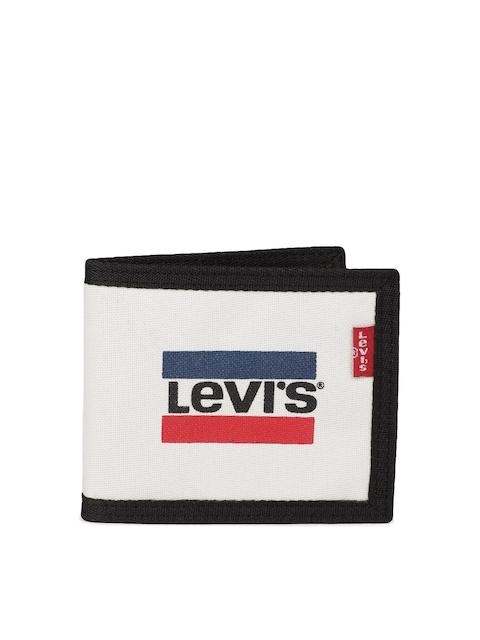 Levis Men Off-White & Black Printed Two Fold Wallet