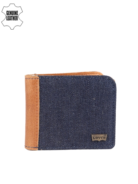 Levis Men Blue Textured Premium Canvas Leather Two Fold Wallet