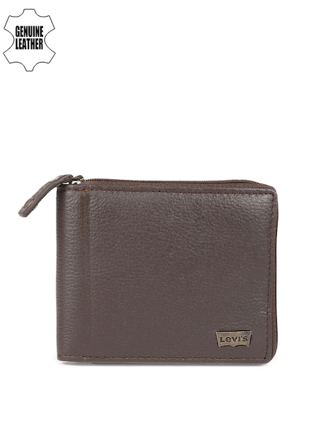 Levis Men Brown Textured Zip Around Wallet