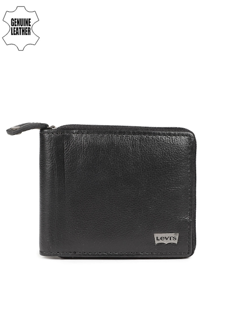 Levis Men Black Solid Zip Around Wallet