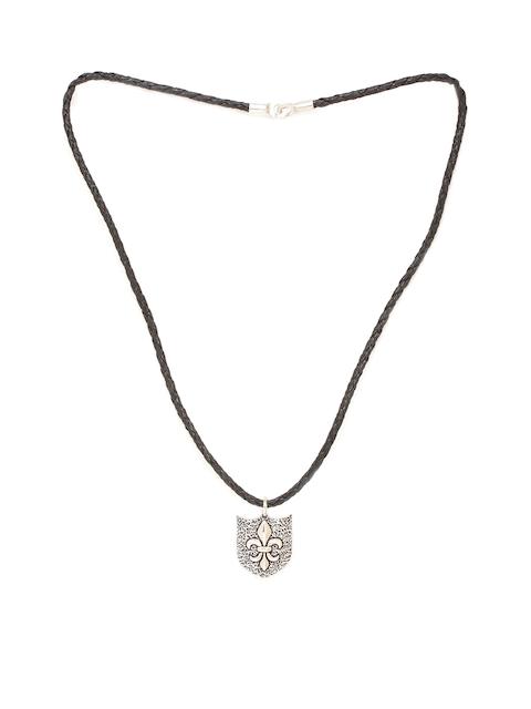 Dare by Voylla Men Silver Camp Royale Oxidized Pendant