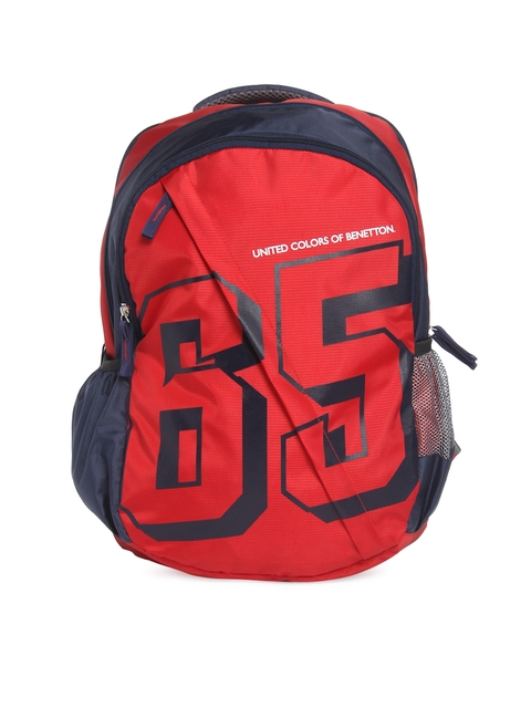 United Colors of Benetton Unisex Red & Blue Backpack