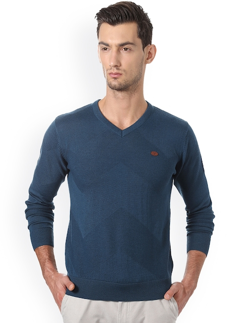 Allen Solly Men Blue Printed Pullover
