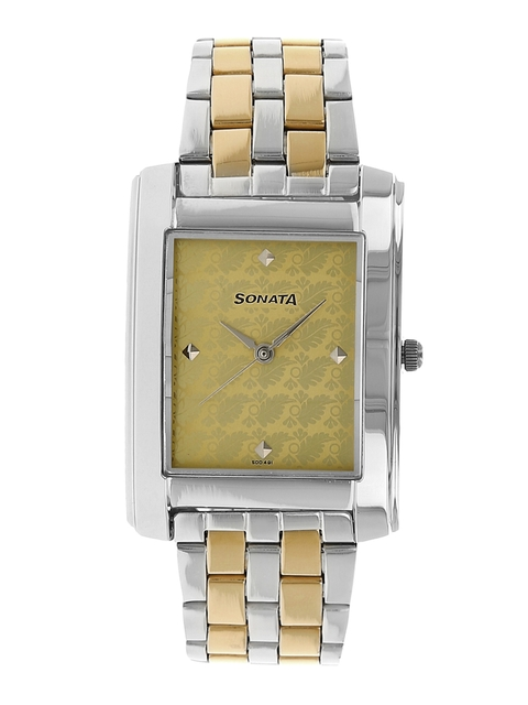 Sonata Men Gold-Toned & Silver-Toned Analogue Watch