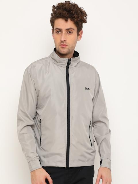 Plutus Men Grey Solid Windcheater Sporty Jacket