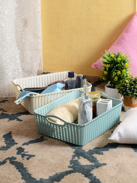 House Of Accessories Set Of 2 Cream & Blue Laundry Basket