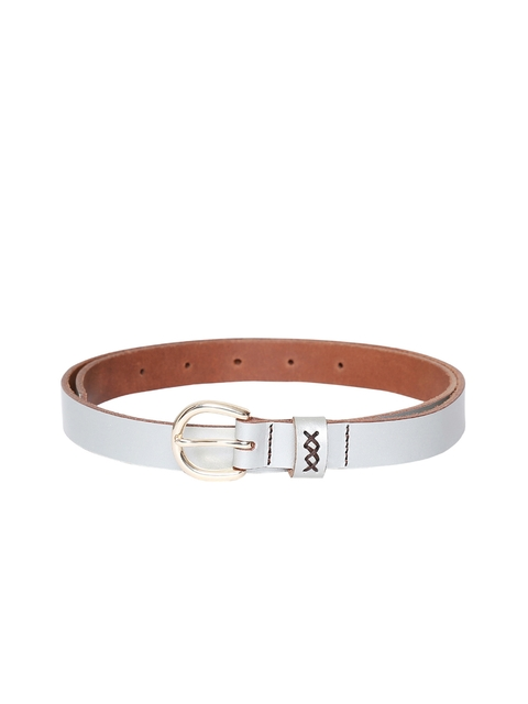 VIARI Women Silver Solid Leather Belt