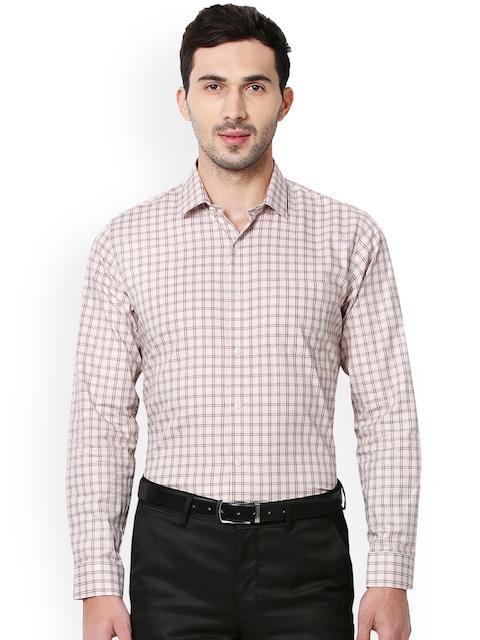 Van Heusen Men Beige Slim Fit Checked Formal Shirt