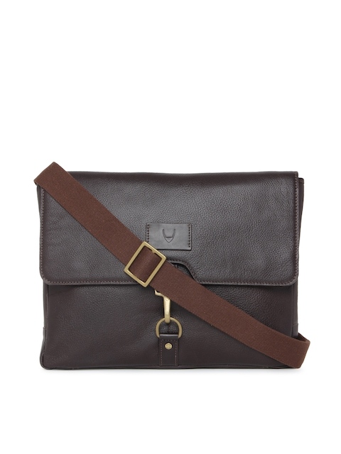 Hidesign Men Brown Leather Solid Laptop Bag