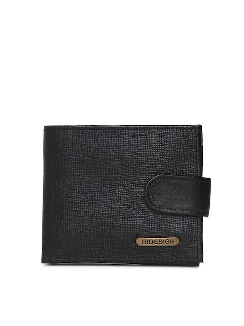 Hidesign Men Black Textured Two Fold Wallet