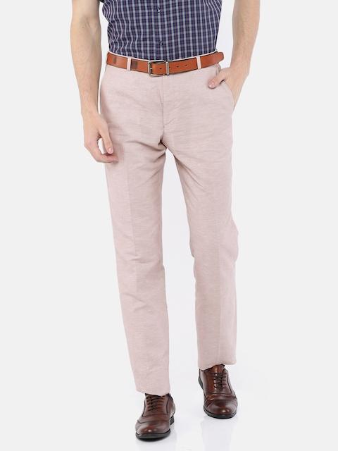 Park Avenue Men Beige Slim Fit Solid Formal Trousers