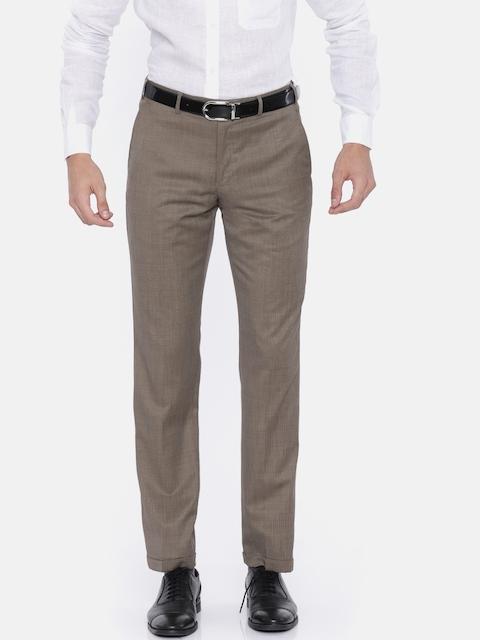 Park Avenue Men Beige Slim Fit Self-Design Formal Trousers