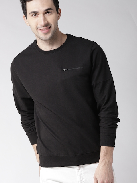 Mast & Harbour Men Black Solid Sweatshirt