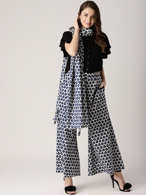 Libas Women Navy Blue & Off-White Printed Wide Leg Palazzos With Stole