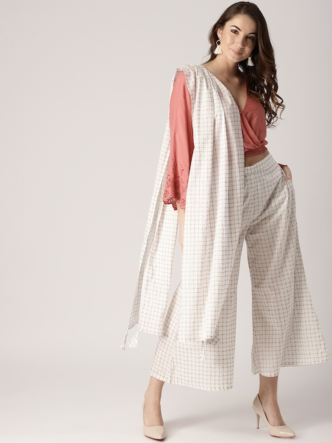 Libas Women White & Golden Checked Wide Leg Palazzos With Stole