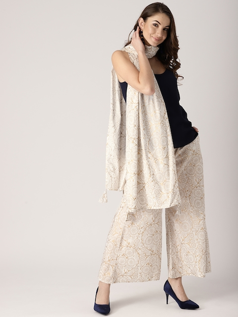 Libas Women White & Gold-Toned Block Print Wide Leg Palazzos with Stole