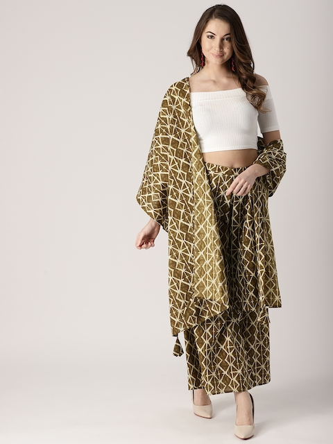 Libas Women Olive Green Printed Wide Leg Palazzos with Stole