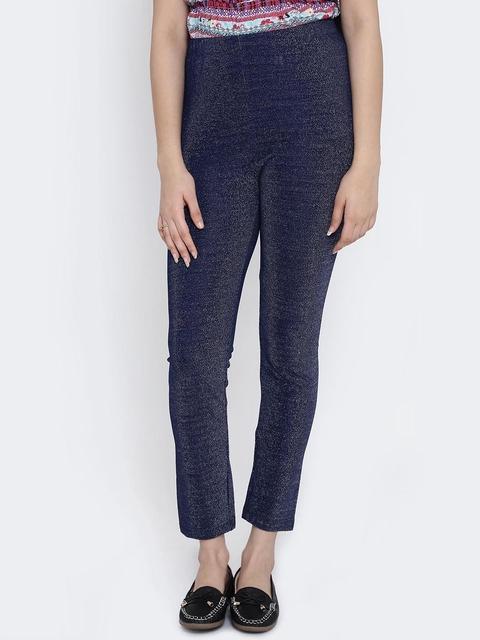 Natilene Girls Navy Blue Shimmer Leggings