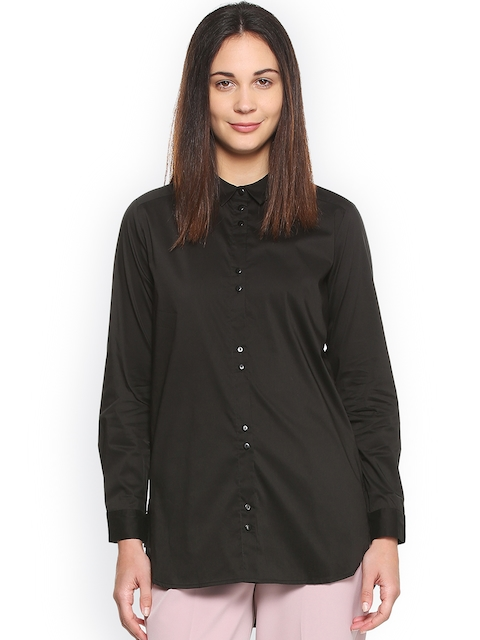 Van Heusen Woman Women Black Regular Fit Solid Formal Shirt