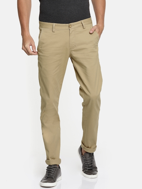 Allen Solly Men Beige Smart Slim Fit Solid Regular Trousers