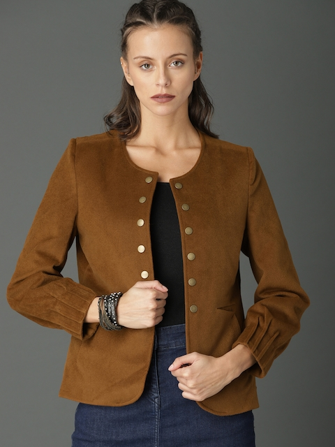Roadster Women Camel Brown Solid Tailored Jacket