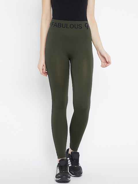 C9 Olive Solid Ankle-Length Leggings