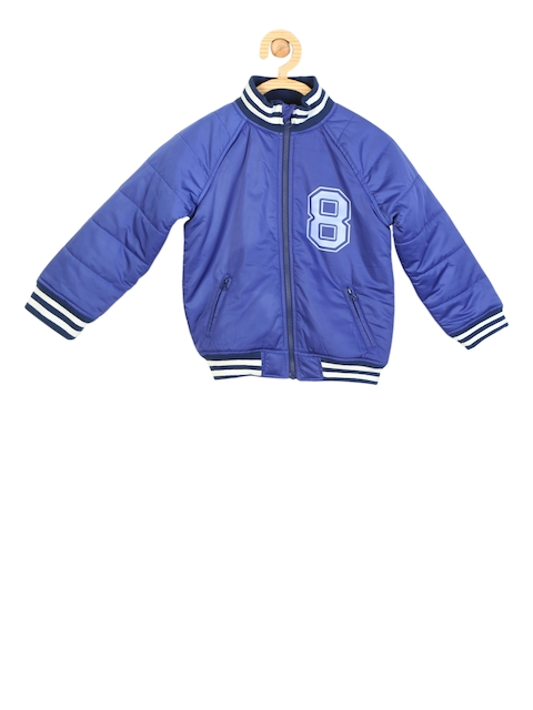 Allen Solly Junior Boys Blue Self Design Bomber