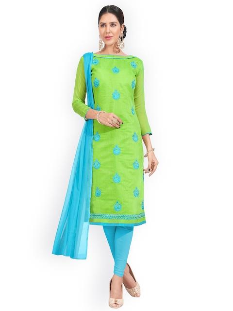 Blissta Green & Blue Cotton Blend Unstitched Dress Material