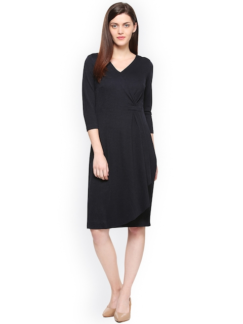 Van Heusen Woman Women Black Solid A-Line Dress