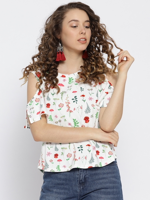 OVS Women White & Red Printed A-Line Top